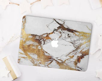 Gold White Marble MacBook Case, MacBook Hard Case, MacBook Air Protection, MacBook Pro 2016 Touch Bar Case, MacBook Pro Retina Hard Case