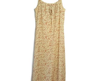 Addition Elle 90s Pale Yellow Maxi Dress size 16 Plus size Vintage women's Sleeveless Empire Waist Summer Dress Made in Canada Polyester XXL