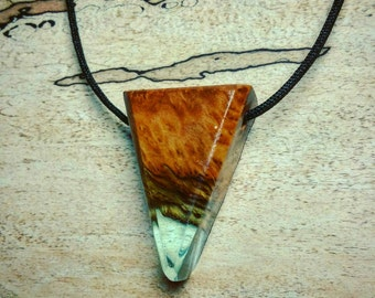 Triangle Burl Wood Resin Necklace