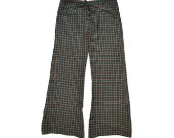 Vintage TARA women pants plaid red green hipster style 100% cotton