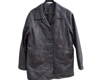 Vintage women genuine leather jacket black 90s