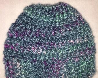 Measy Bun Hat - Multicolor Hat - Turquoise Hat - Crochet Hat - Winter Hat