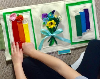 Quiet Book - Montessori Flower Arranging Activity Educational Toys for Toddlers - Soft Felt Busy Book - Best Birthday Gift Idea for Girls