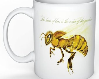 Honey Bee Mug, Bees, Apis Mellifera, Original Artwork, Quotes,