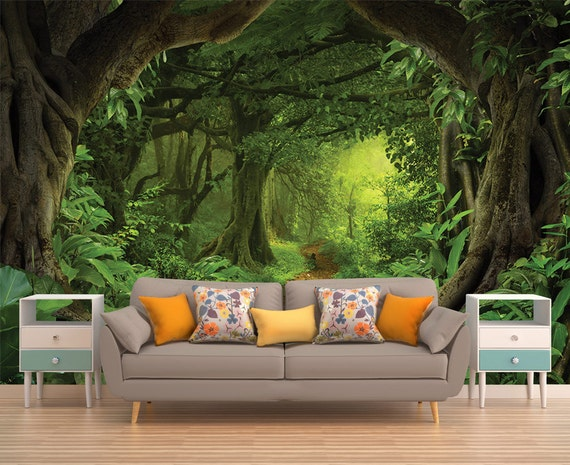 Forest vinyl wallpaper wallpaper removable wallpaper peel - Papel tapiz infantil ...