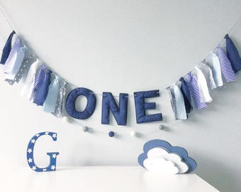 ONE Birthday Banner, Navy Rag Garland, First Birthday Banner, Baby Cake Smash Prop, Fabric Party Bunting, 1st Birthday Party Decor,