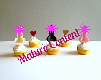 Bachelorette Cupcake Toppers, Penis Cupcake Toppers, Bachlorette Cupcake Picks