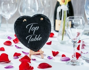 Slate heart table numbers or names