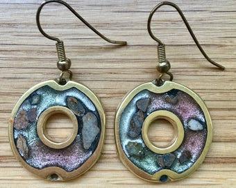 Vintage Bronze Washer Pierced Earrings Native American Heavy Dangles Metallic Hook Circles Circle Donut
