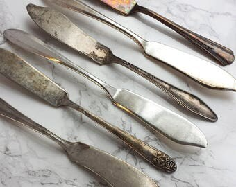 Vintage Silver Spreader Set   Six Vintage Silver-plate Butter Knives   Craft Supply Jewelry Making Knife Stamping [Set A]