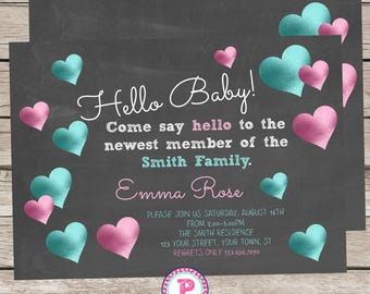 Hello Baby Invitation Chalkboard Meet the Baby Invite Front Back Digital File Only Metallic Hearts Pink Aqua Blue Come say Hello to the Baby