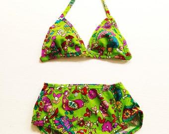 5-6Y SwiMsuiT BiKini NEW 70s retro girls girls bikini new OldschOol 116 hipSter hippie