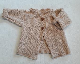 Frosty Baby Hand Knitted Merino Wool Child's Cardigan