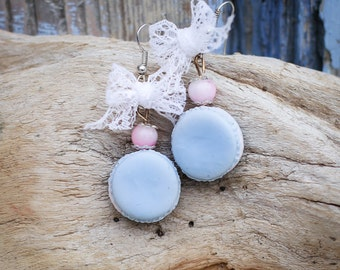 Earrings blue macaroons