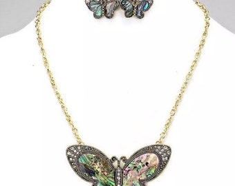 Multicolored Butterfly Necklace and Earring Set