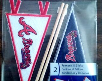 Atlanta Braves Penants and Sticks Embroidered Stickers, EKSuccess