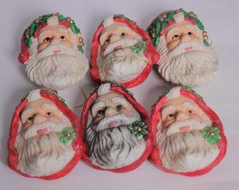 SALE  - 6 Vintage Santa Claus Ornament, Vintage Santa Claus, Christmas Tree Ornament