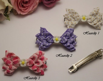 Handmade kanzashi grinding colorful Barrette hair clip pink, white, purple, dotted