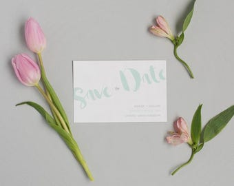 Modern Mint Save the Date - Rustic Save the Date - Personalised Wedding Save the Date - Wedding Save the Date card