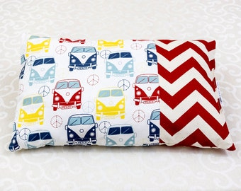pickup trucks/red chevron pillow