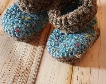 Blue and Brown Crocheted Baby booties