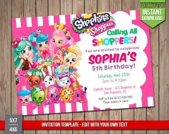 Shopkins Invitation Etsy