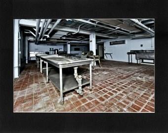 "Custom Matted Print 0311. Abandoned: Marlboro State Mental Hospital, NJ. ""Main Kitchen"" - Collectable Photographic Artwork. (11"" x 14"")"
