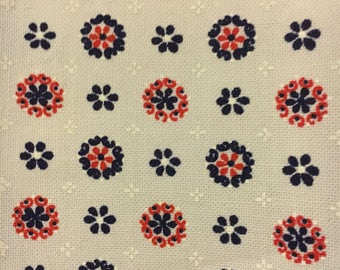 Ethical sourced white floral blue and red polyester cotton