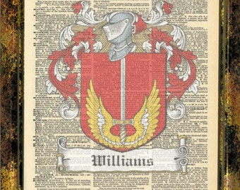 Williams Scottish Family Crests. Scottish Clan Crest Coat of Arms Vintage Prints