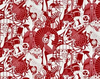 Geisha with umbrella network fabric fabric red and white japanese kimono fabric Japanese Chrysanthemum kabuki lucky cat kokeshi asian fabric