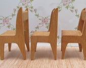 Three Vintage Barton Wooden Dolls House Miniature Chairs