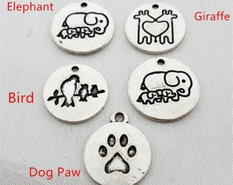 5pcs Fashion Dog Paw,Giraffe,Elephant,Bird Charm Necklaces Pendants Animal Charms , Kitty Cat Paw Charms for Necklace Accessories Jewelry