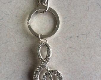 Music Note treble clef jeweled key chain