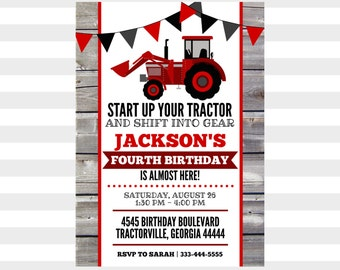 Tractor Birthday Party Invitation ~ Personalized Birthday Invite ~ Printable ~ Red Black Grey ~ Little Boy ~ Farm | Tractor | Gear | Fun