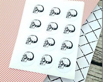 Black and White skull sticker, Sticker Black and White skull sticker, Skull sticker Black and White, Anatomical, Realistic, Gothic, Horror