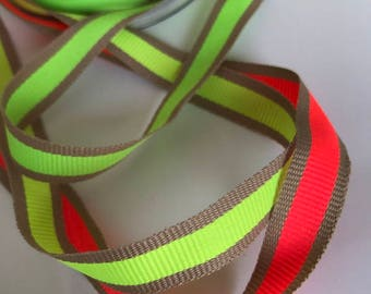 Neon stripe ribbon, grosgrain, henweekend, party ribbon, cheerleading and dancing bows