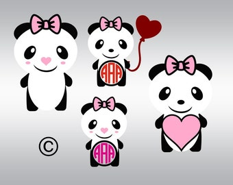 Panda bear balloon monogram SVG Clipart Cut Files Silhouette Cameo Svg for Cricut and Vinyl File cutting Digital cuts file DXF Png Pdf Eps