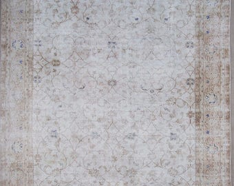 """MS-24 Turkish handmade Oushak vintage rug., 300 x 250 cm. ,  9' 8"""" x 8' 2"""" ft.Shipping included.."""
