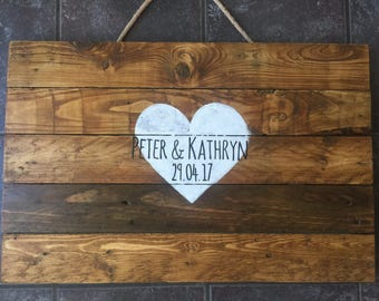 Personalised Wedding Guest Board Keepsake alternative advice book boho rustic shabby chic vintage