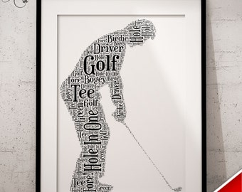 Personalised Father's Day Gift - Word Art Keepsake Golfing Dad Golf