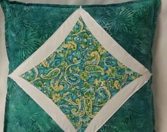 Pillow, Throw Pillow, Decorative Pillow, Toss Pillow, Cathedral Window Pillow, Green Batik Pillow