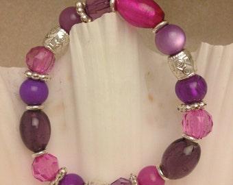 Vintage Purple Bead Bracelet