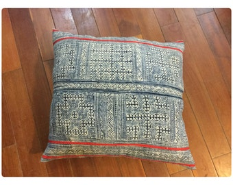 Vintage Handmade Tribal Hmong batik hemp pillow cover