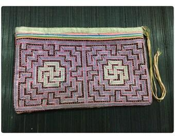 Vintage Handmade Tribal Hmong hand stitched applique cotton hemp purse