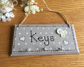 Wooden Keys hanger, chocolate brown. Shabby Chic key hooks