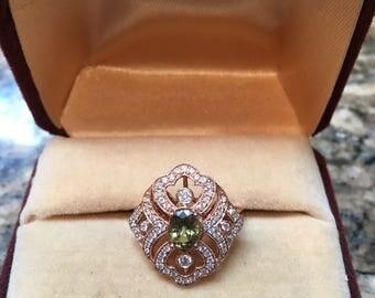 Genuine Demantoid Garnet Rose Gold Vintage ring