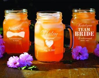 12 Custom Mason Jars - Personalized Rustic Glassware - Bridesmaid - Bridal Shower - Wedding Party Gift - Engraved Glassware - Groomsman Gift