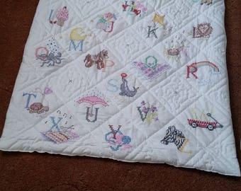 alphabet cot quilt