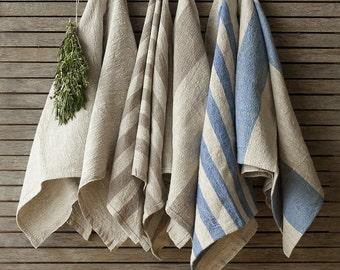 Set Of 6 Striped Linen Tea Towels, Flax Dish Towel,Blue and Grey Linen Kitchen Towel,Natural Handmade Linen Towels,Rustic Linen Hand Towels