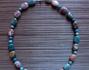 Mokaite (Jasper) and kyanite necklace